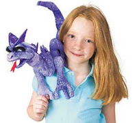 purple dragon shoulder puppet folkmanis