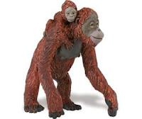 orangutan toy miniature adult with baby orangutans