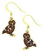 brown owl earrings french curve with enamel
