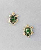 green turtle earrings post gold with enamel