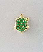 green turtle lapel pin gold with enamel