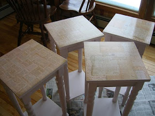 4 decoupaged tables