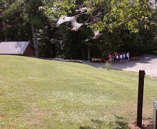 Kids climbing a gate