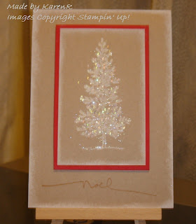 Stampin Up and Lovely As a Tree and heat and stick