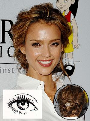 jessica alba eye makeup. Prominent Eyes: The eyes are