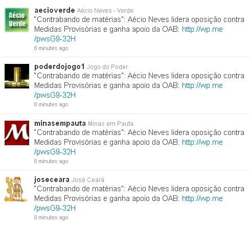 Spam Aecio neves Robo no Twitter