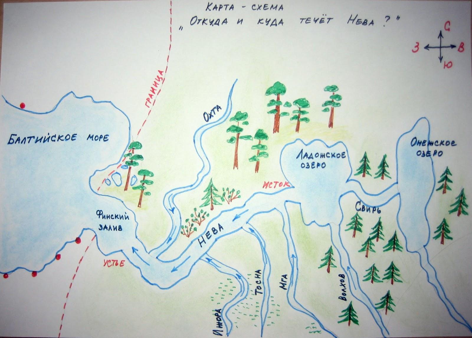Куда течет река нева схема
