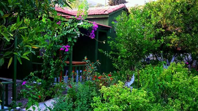 İnceyalı Pansiyonun bungalovları ve bahçesi