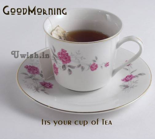 Good Morning E greeting cards and wishes with a cup of tea.