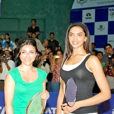 Deepika Padukone and Soha Ali Khan in Tata Open Badminton Tournament