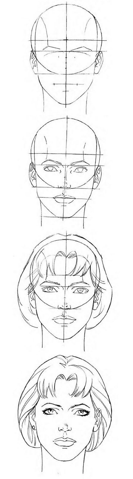 Female Head proportions template reference    follow me on - privacy policy sample template