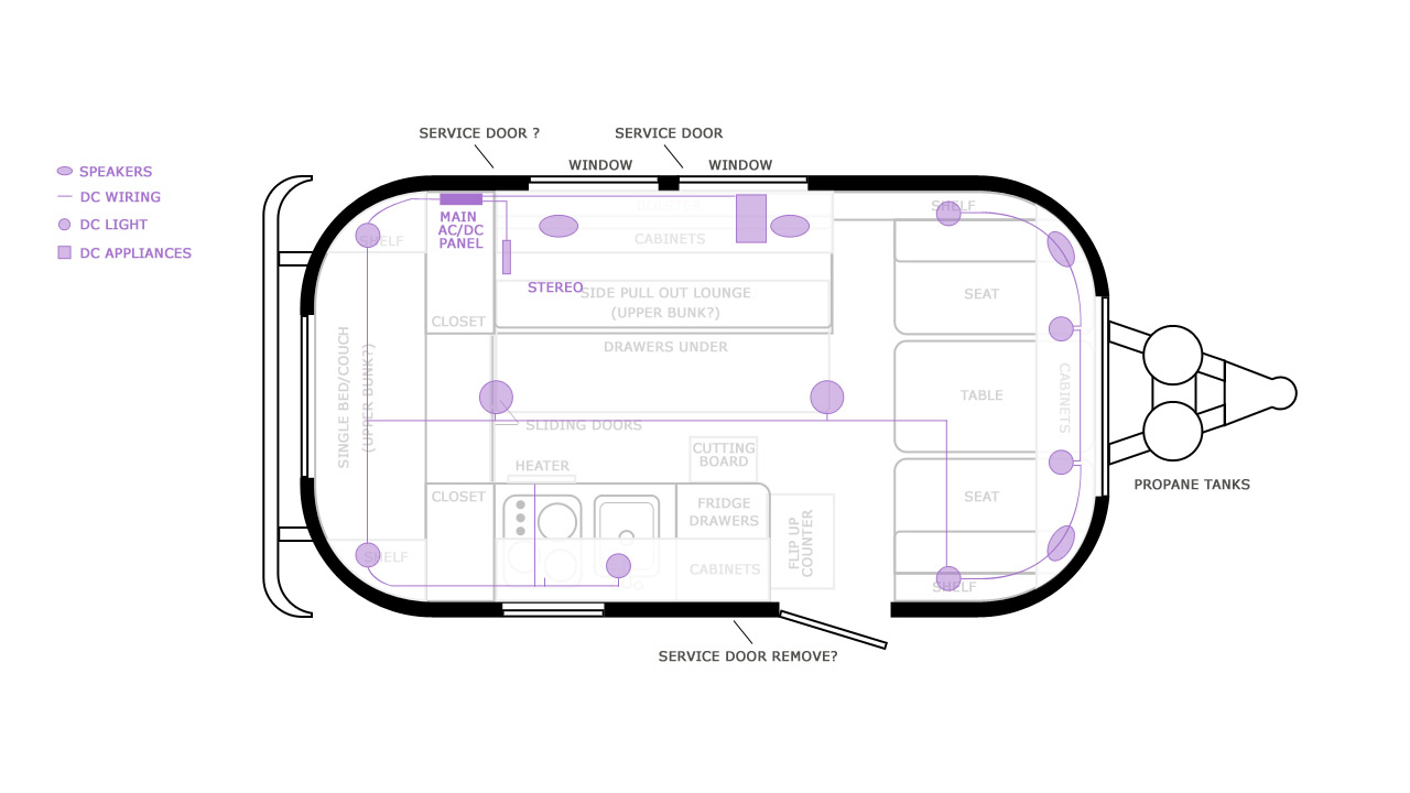 Airstream Caravel: schematics for ACDC electrical, plumbing and gas lines