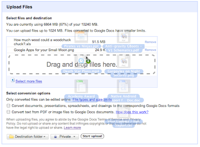 Google Docs Drag und Drop Upload