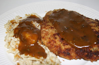 Jaegerschnitzel served with Spaetzle from Michelle at Culinography blog