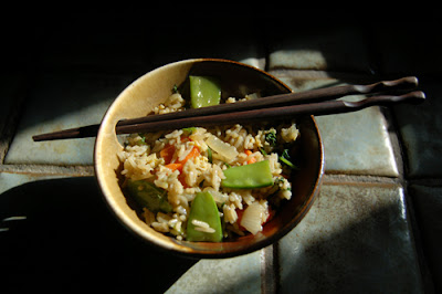 The delightfully stir-fried rice with vegetables.