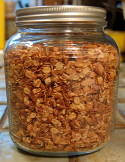 Jar of my homemade granola goodness