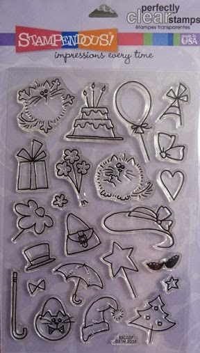 The Enchanted Gallery Cat Rubber Stamp Birthday Card
