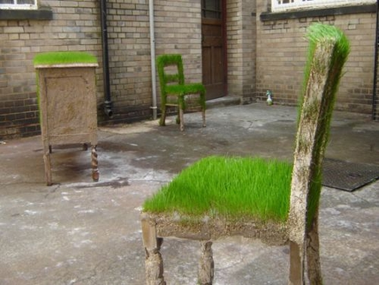 Unique Garden Furniture Covered With Grass