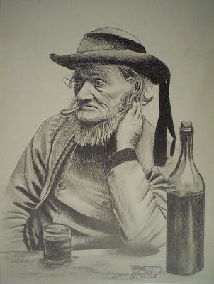 portrait vieux breton mine graphite