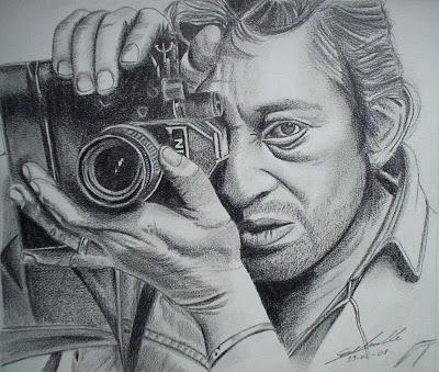 Technique du portrait,Technique d'ombre pour le dessin, évolution étape par étape du portrait de Serge Gainsbourg à la mine graphite