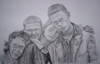 Portrait de 4 frères et soeurs, mine graphite