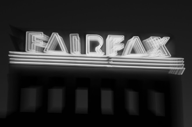 Fairfax Theatre Neon and Light Fog at Dusk: Fairfax, California
