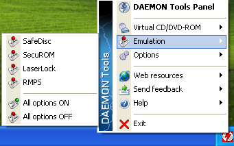Daemon Tools System Tray menu interface