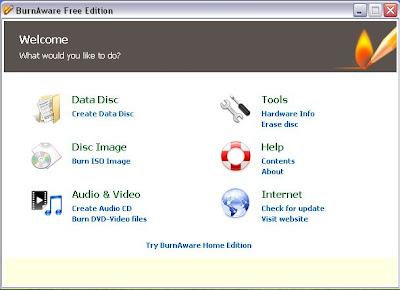 BurnAware Free Edition start screen
