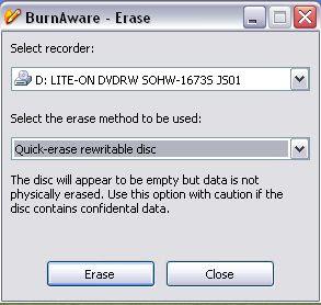 BurnAware Free Edition Erase options