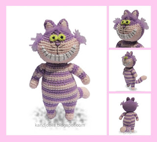 Amigurumi crochet pattern for the Cheshire Cat of Alice in Wonderland