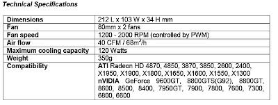 Arctic Cooling Accelero Twin Turbo VGA cooler technical specifications
