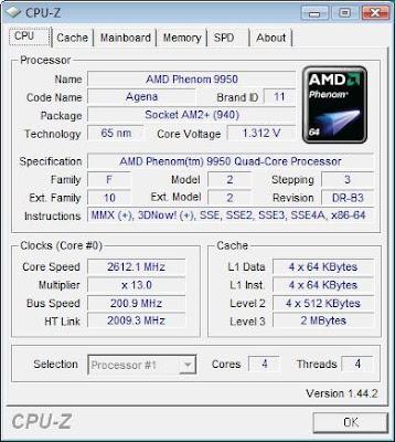 AMD Phenom X4 9550 Black Edition quad-core processor CPU-Z