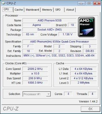 AMD Phenom X4 9350e quad-core processor CPU-Z