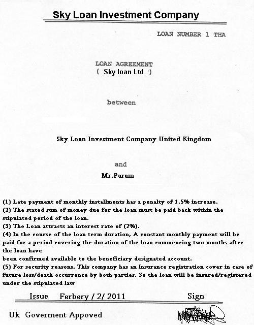 Scam Report Sky Loan  Advance Fee Fraud - loan letter agreement
