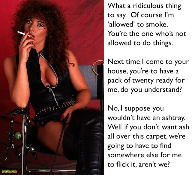 femdom caption cruel dominatrix smoking and about to use slave as ashtray