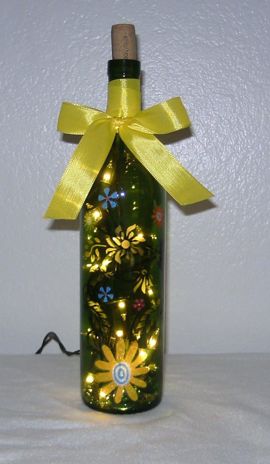 Elegant WIne Bottles: Ribbon Lighted Wine Bottle