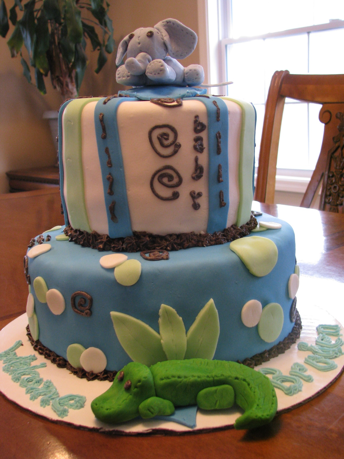Cakes By Erine Elephant And Alligator Baby Shower Cake