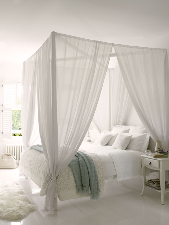 Blue and white white bedroom with a touch of blue - Four poster bed curtains ...