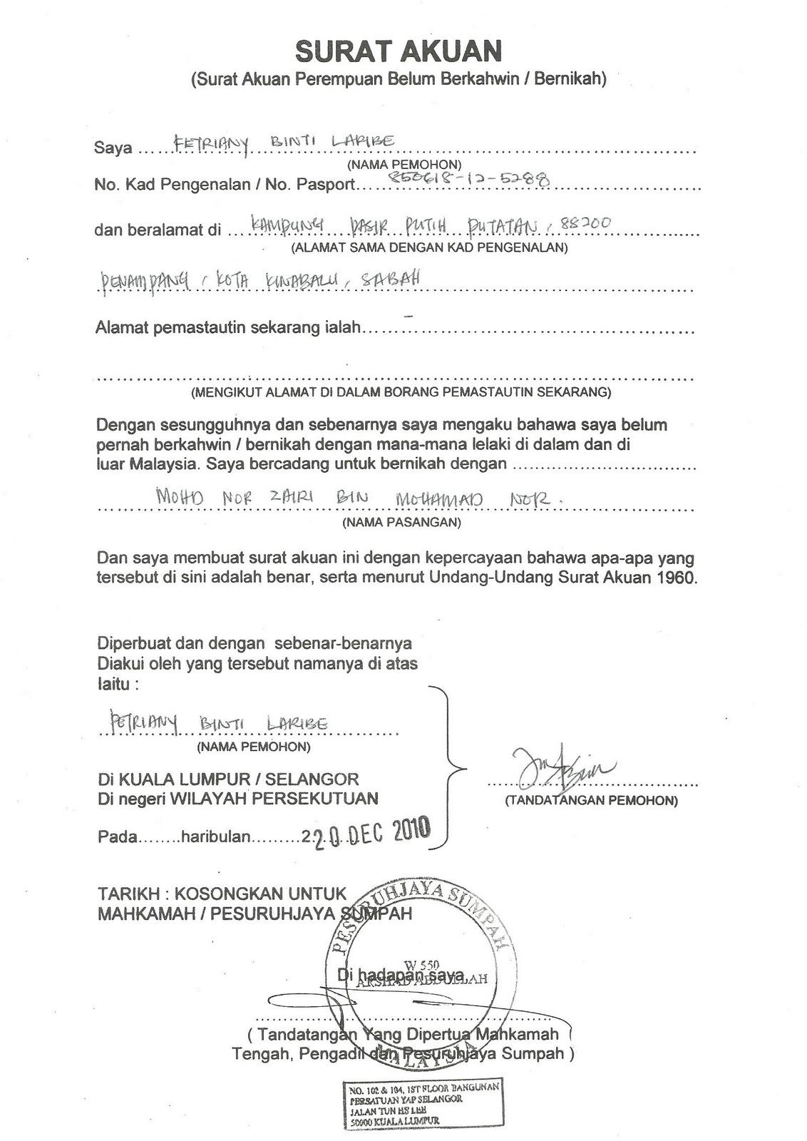 Contoh Surat Akuan Bujang Untuk Kahwin