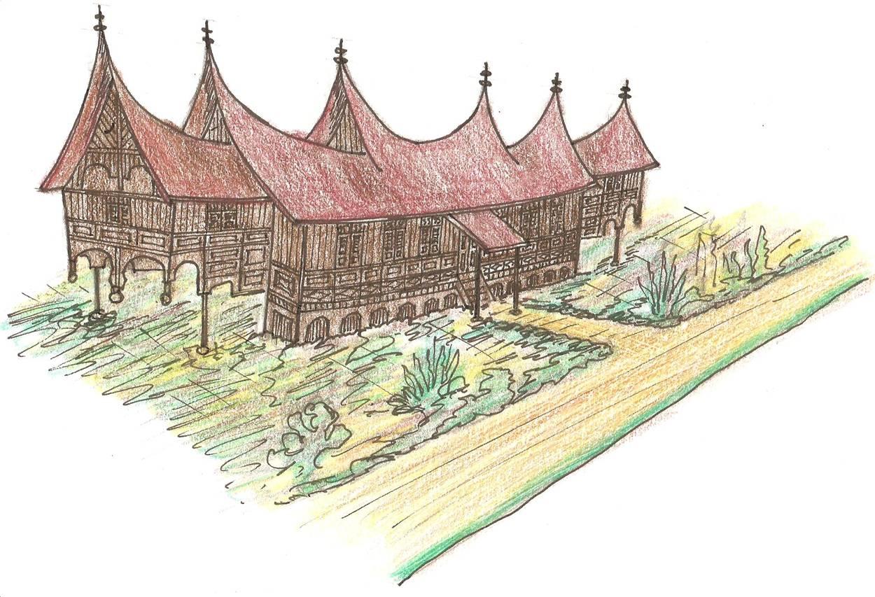 Cara Menggambar Rumah Adat Minangkabau Part 177 Youtube