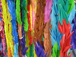 Paper cranes from one of the memorials.