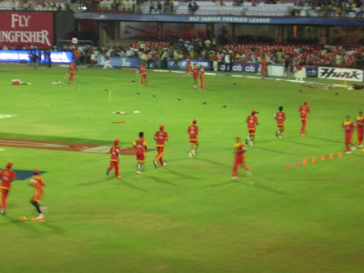 Cricketers Practicing at Chinnaswamy Stadium, Bangalore