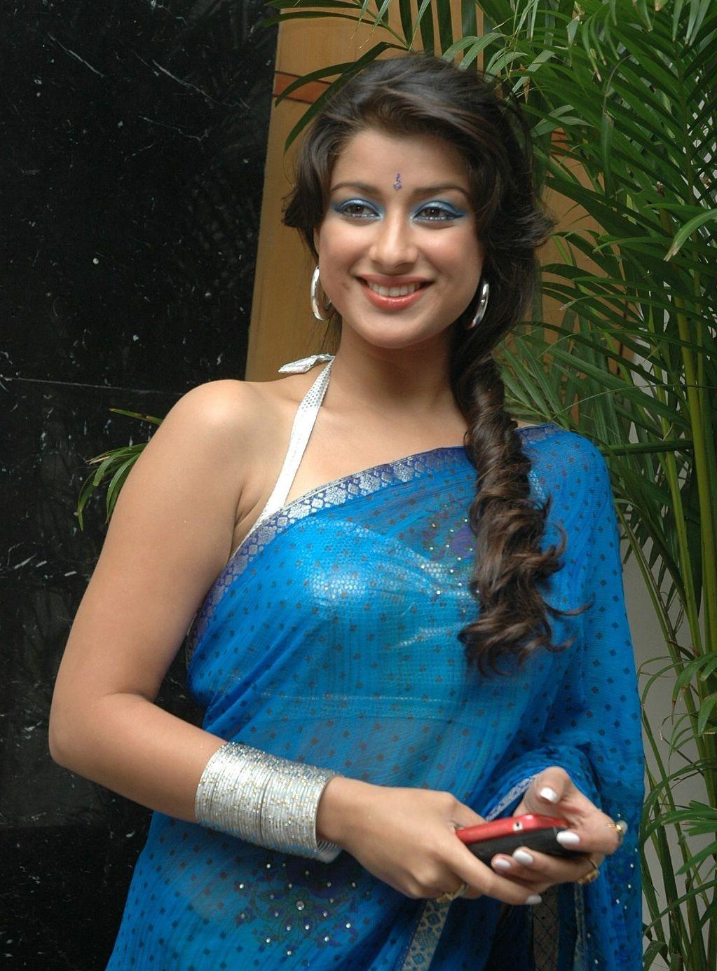 Madhurima Spicy Hot In Blue Saree Photos  Acctress Hq