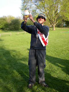 Photo: Gareth Holmes holds aloft the St George's Day Classic Trophy (donated by the majority of the Welsh Team!?)