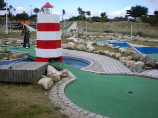 Playing Minigolf at Sandbanks Crazy Golf in Poole, Dorset