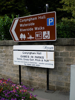 Signs for the Mini Golf and other activities at Conyngham Hall and Waterside in Knaresborough
