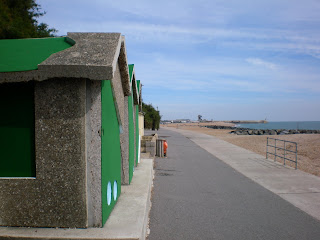 The '18 Holes' Crazy Golf Beach Huts Artwork Installation made by Richard Wilson on Folkestone