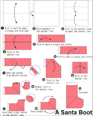 Origami instructions, How to Make an Origami Santa Claus Puppet | 400x320