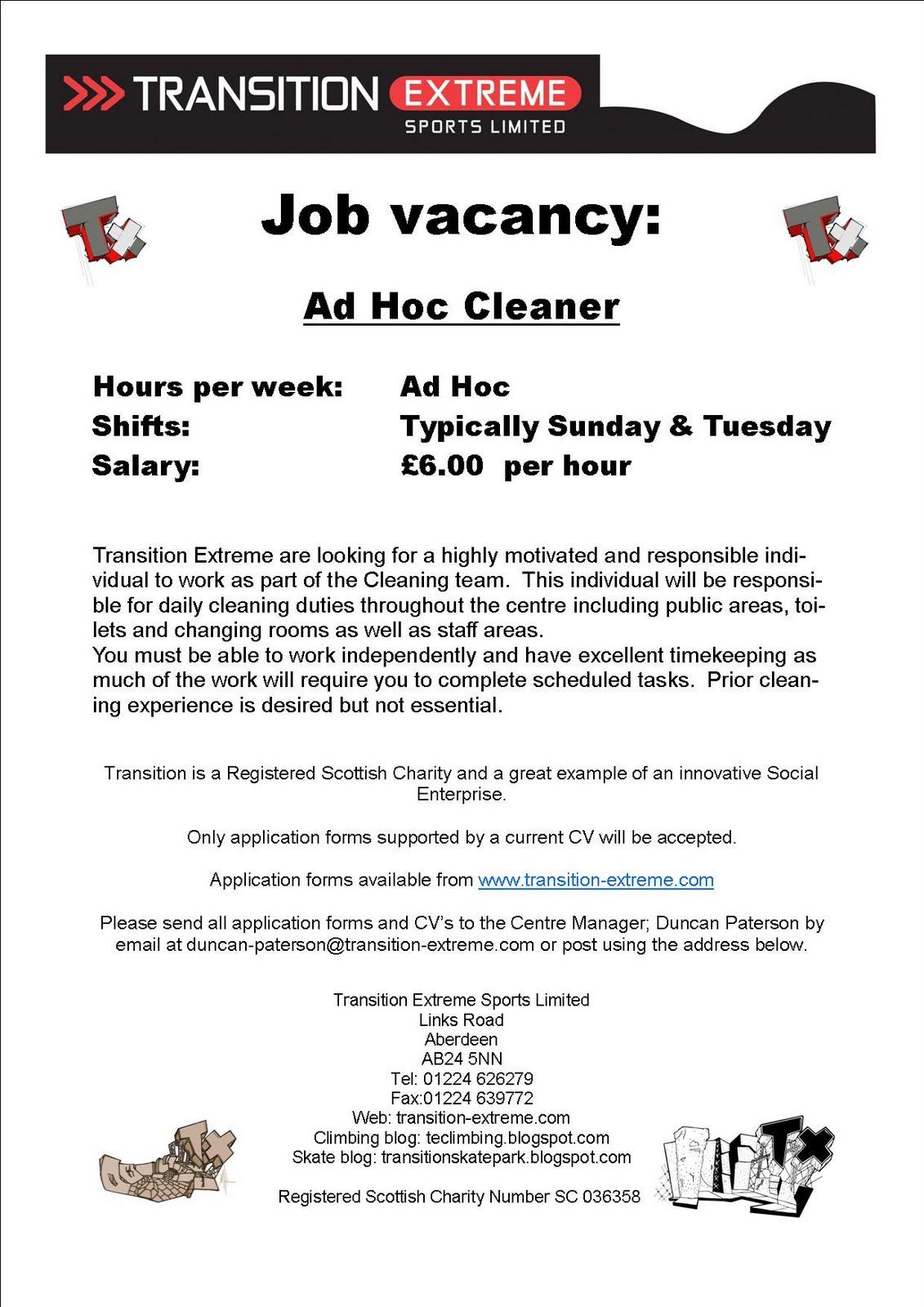 Transition Extreme Climbing: Job Vacancy