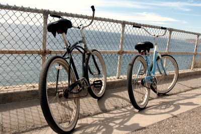 Image of cruiser bicycles on waterfront near Santa Barbara